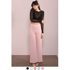 Dusky Pink Long High Waist Wide Leg Trousers
