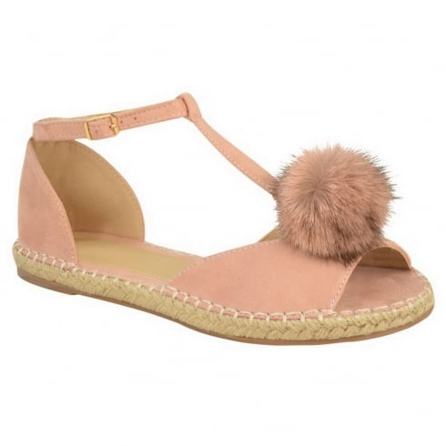 Dusky Pink Pom Pom Cut Out Open Toe Sandals