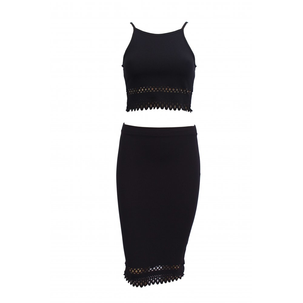 ella black cut out crop top and midi skirt 2 set