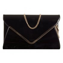 Ella Black Patent Leather Envelope Clutchbag