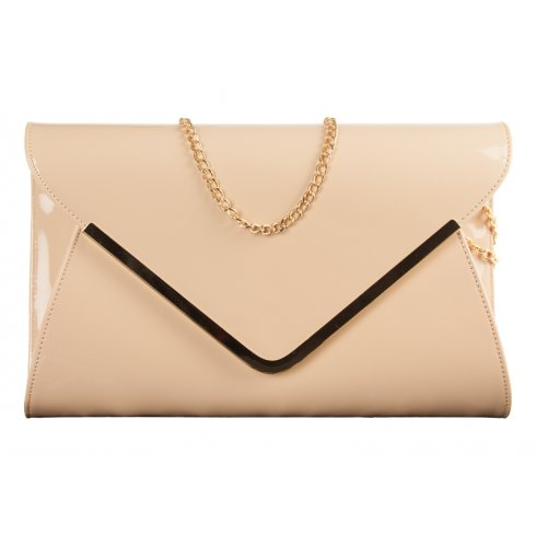 Ella Dark Nude Leather Envelope Clutchbag