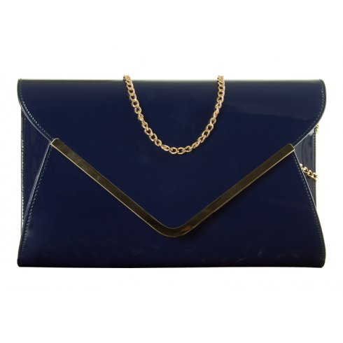 Ella Navy Patent Leather Envelope Clutchbag