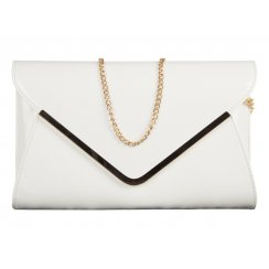 Ella White Patent Leather Envelope Clutchbag