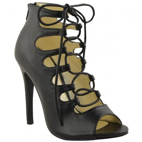 Elly Black Lace Up Cut Out Mid Stiletto Heels