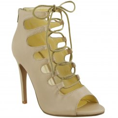 Elly Nude Lace Up Cut Out Mid Stiletto Heels