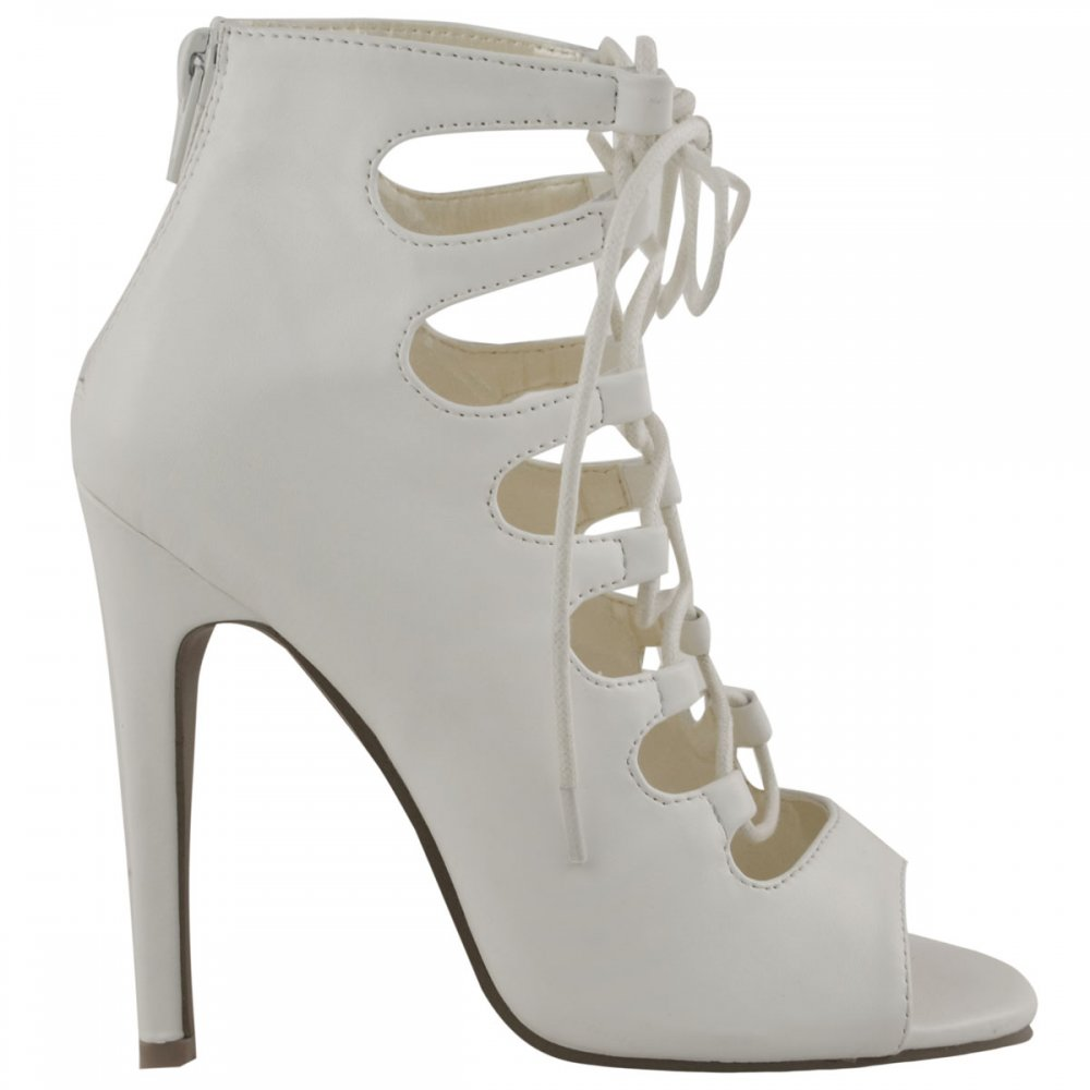 Lace Up White Heels - Is Heel
