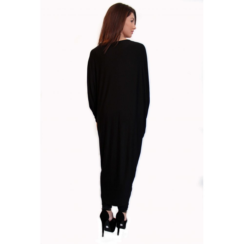 Emmie Black Long Length Black Draped Jersey Cardigan From Parisia