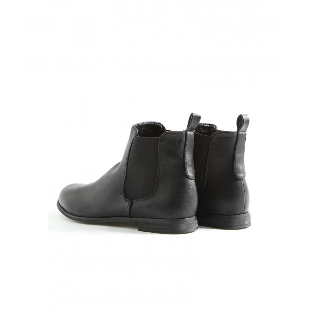 Flat Black Ankle Boots - Boot Hto
