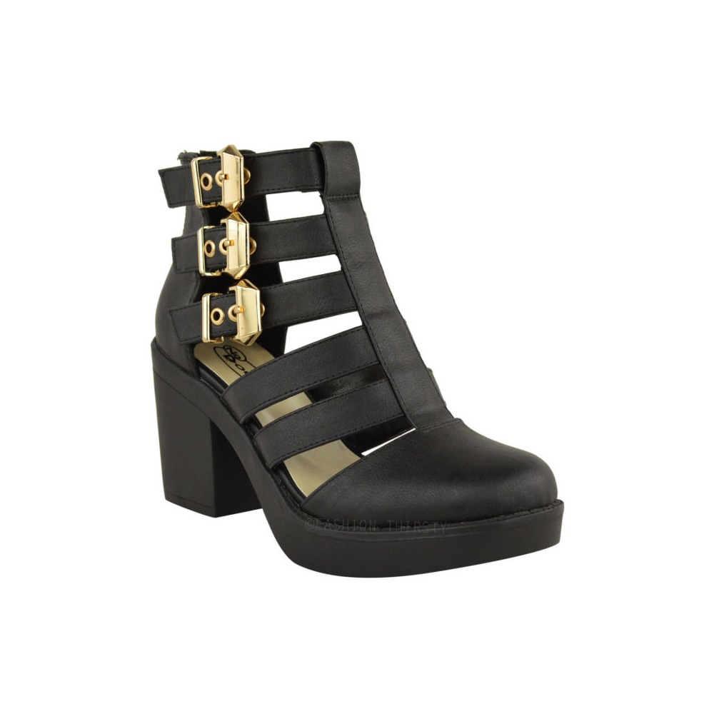 evie black block heel gold buckle cut out ankle boots. Black Bedroom Furniture Sets. Home Design Ideas