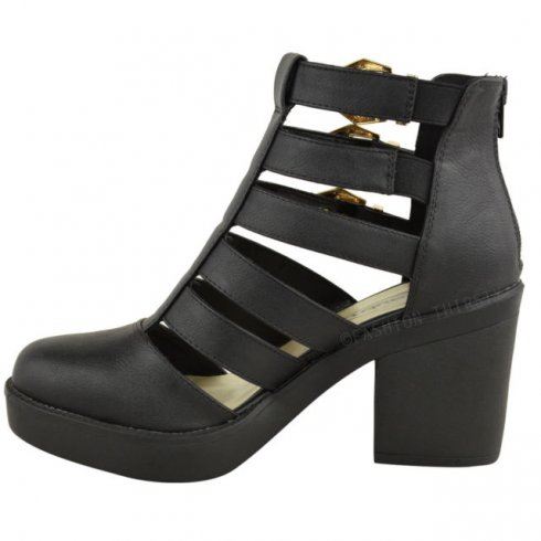 98408a5961e Evie Black Block Heel Gold Buckle Cut Out Ankle Boots