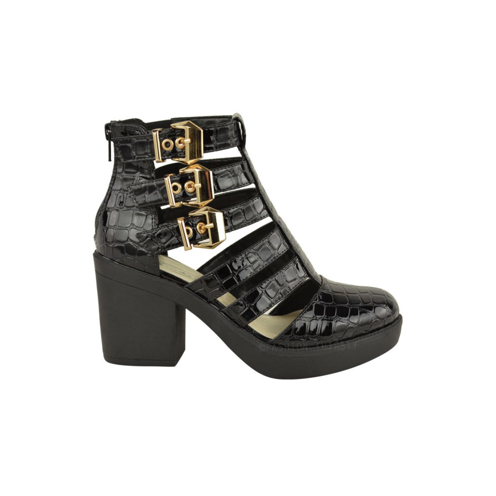 6028232a1b4 Evie Black Patent Block Heel Gold Buckle Cut Out Ankle Boots