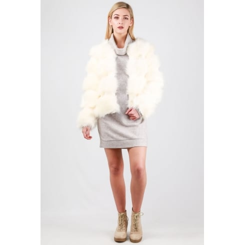 Extra Soft Fur Coat in Cream