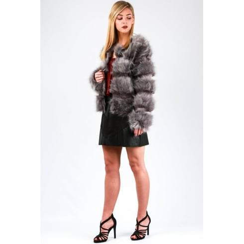 Extra Soft Fur Coat in Grey
