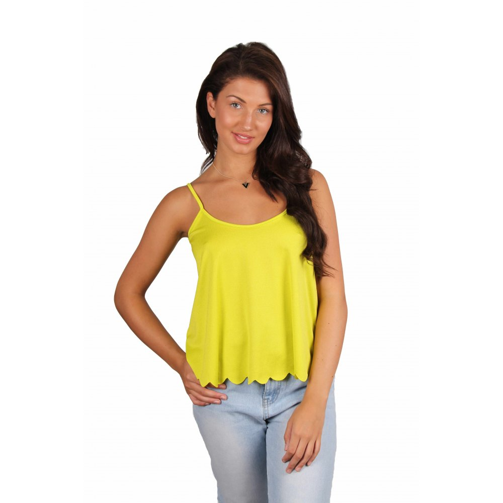 Lime Green Peacock Handkerchief Camisole - Women