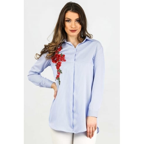 Floral Embroidered Long Sleeved Shirt