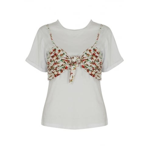 Floral Print Knotted Bralet Over White T-shirt