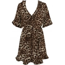 Frilled Brown Leopard Print Short Sleeve Plunge Neckline Shift Dress