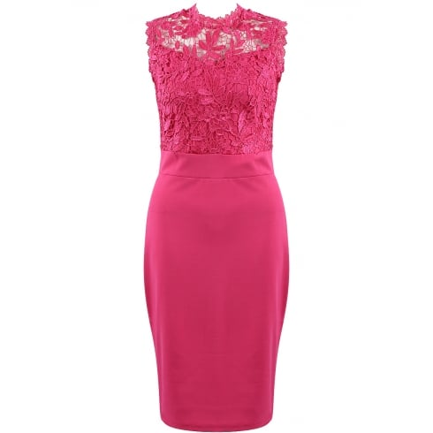 Fuchsia Pink Crochet Lace Floral Bodycon Dress