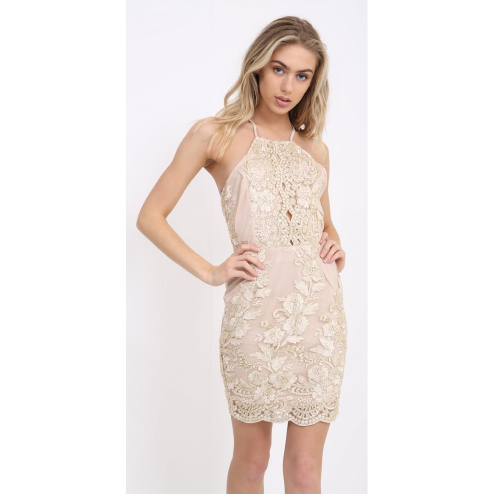 d92e2868dd01 Gold And Cream Floral Lace Open Back Tie Back Bodycon Dress