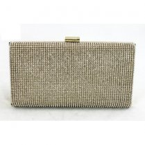Gold Diamante Box Clutch Bag