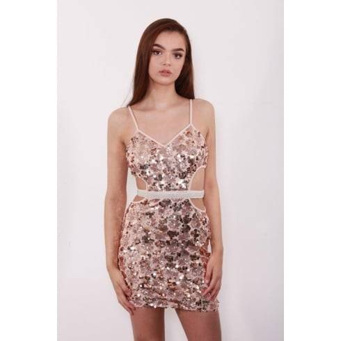 Gold Glittered Sequin Cut Out Side Bodycon Dress