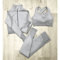 Grey 3pc Crop Top Crop Jacket Leggings Gym Set Co-ord