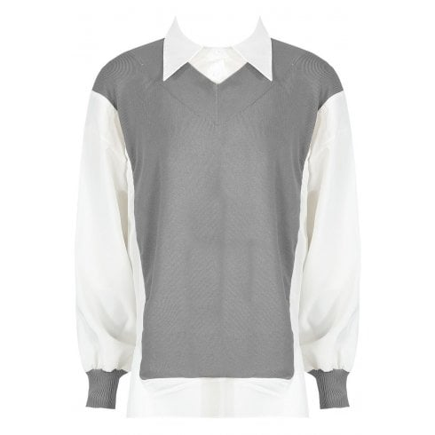 Grey And White Oversized Collared Knitted Vest Look Shirt