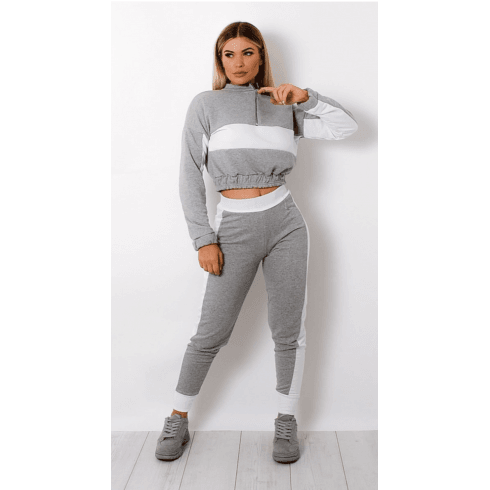 Grey And White Strip 2PC Lounge Set Joggers And Crop Jumper