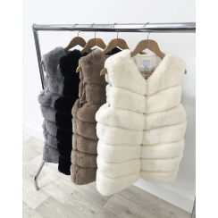 Grey Black Cream Beige Faux Fur Layered Long Gilet Waistcoat Sleeveless Coat