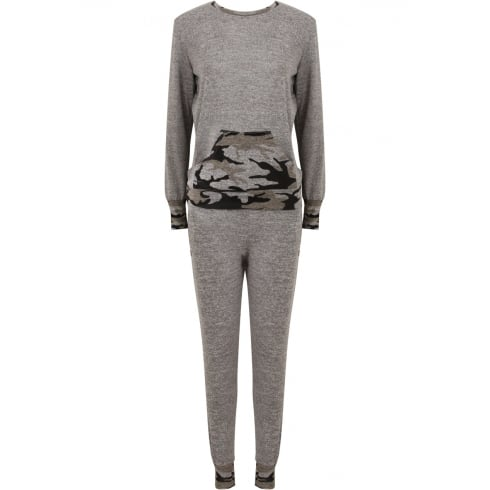 Grey Camouflage cuff and Front Pocket Lounge Tracksuit