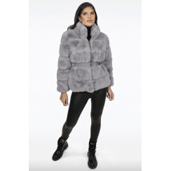 Grey Faux Fur Elasticated Waist Jacket
