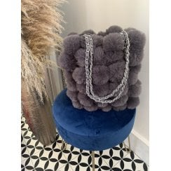 Grey Faux Fur Pom Pom Handbag