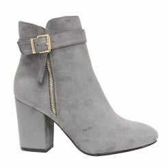 Grey Faux Suede Gold Zip And Buckle Mid Block Heel Ankle Boots