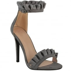 Grey Faux Suede Stiletto Ruffle Ankle Barely There High Heels