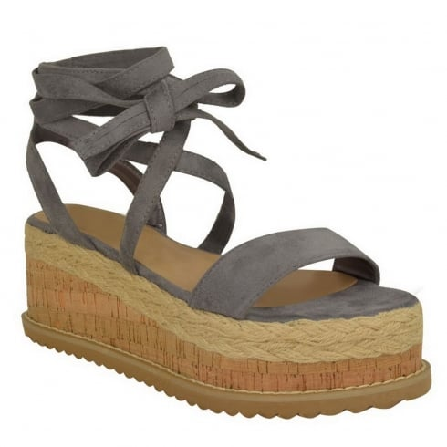 Grey Faux Suede Tie Up Lace Wedge Sandals