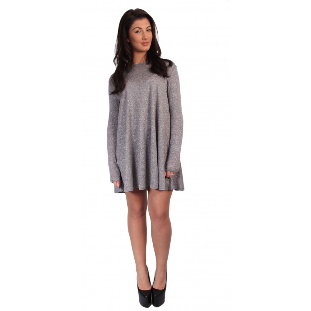 e6cc370e832d Grey Glitter Long Sleeved Swing Dress