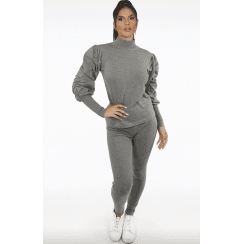 Grey High Neck Ruched Sleeve Knitted Loungewear Set