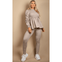 Grey Ruched Sleeve Kntted Peplum Top & Legging Set