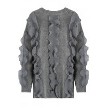 Grey Ruffle Trim Long Sleeve Fitted Cuff Knitted Jumper