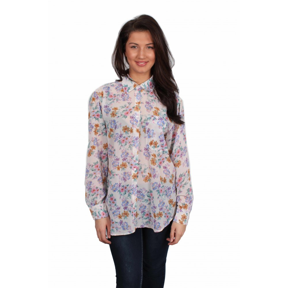 164526edb9be26 Harriet White Floral Chiffon Blouse - Parisia Fashion