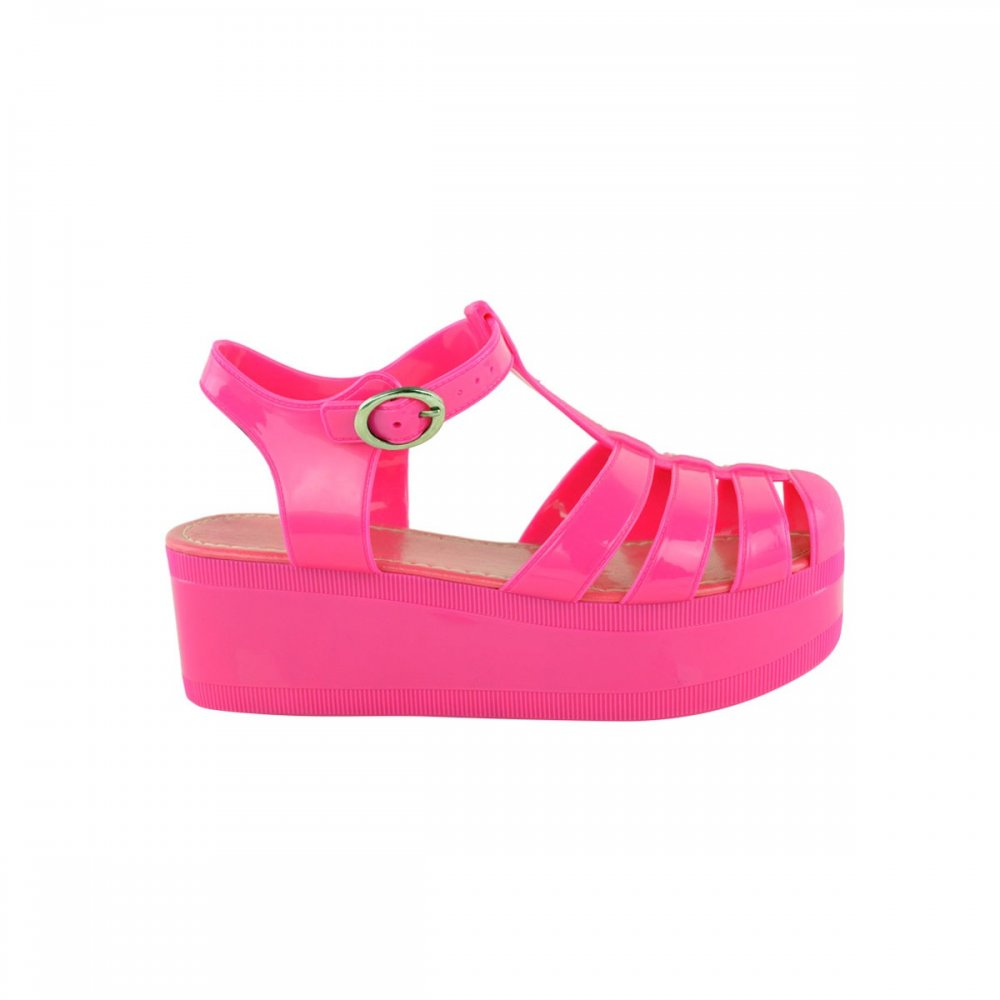 Hot Pink Jelly Cut Out Wedges From Parisia Fashion
