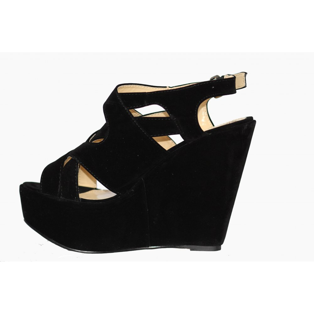 1475533275e Imogen Open Toe Suede Wedge Shoes (HMW1) From Parisia Fashion