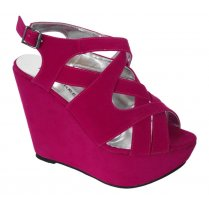 Imogen Pink Cross Over faux Suede Wedges