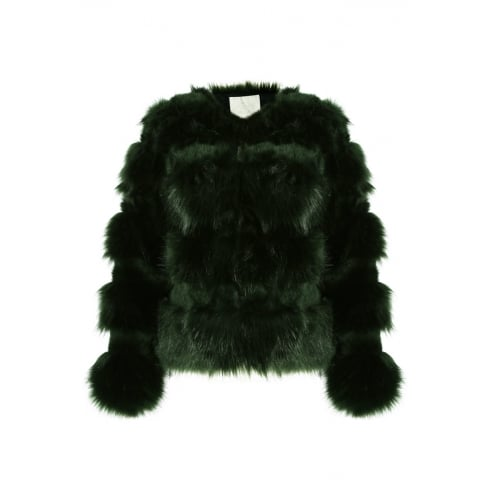 Jade Green Faux Fur Layered Coat