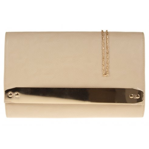 Jane Over-sized Beige Clutchbag With Gold Strip Detail