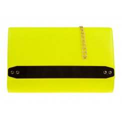 Jane Over-sized Neon Yellow Clutch With Gold Strip Detail