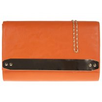 Jane Over-sized Orange Clutchbag With Gold Strip Detail