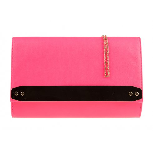 Jane Over-sized Pink Clutchbag With Gold Strip Detail