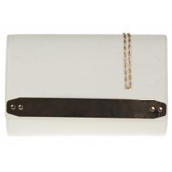 Jane Over-sized White Clutchbag With Gold Strip Detail