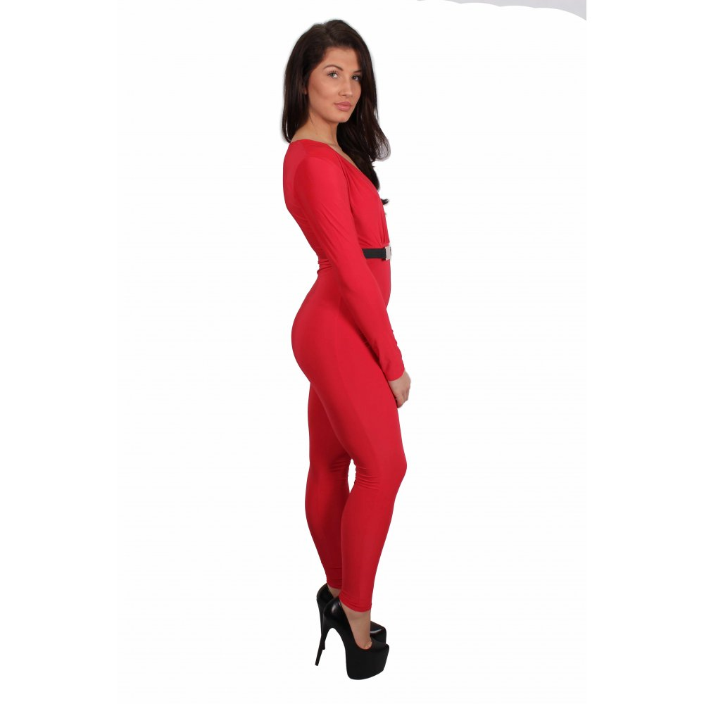 c91a2f6e0309 Kasey Red Long Sleeved Low Cut Jumpsuit From Parisia